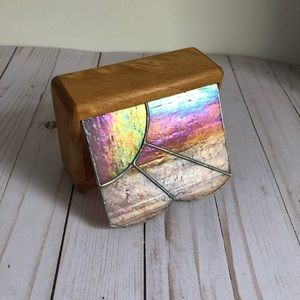 Pink stained glass vintage trinket wood box